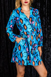 The Thneaky Thnakes | Blue Snakeskin Wrap Dress