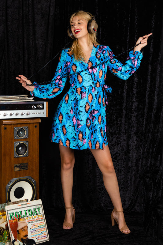 Electric Blue Snakeskin Print Wrap Dress