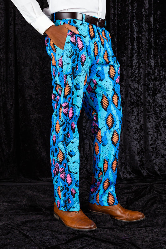 Electric Blue Snakeskin Print Suit Pants