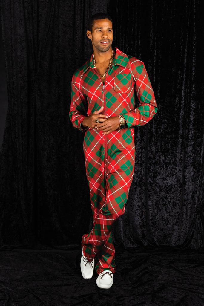 The Poinsettia Playboy | Red Plaid Christmas Flight Suit