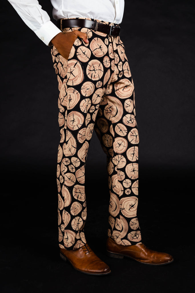 The Xmas Morning Wood | Wood Print Suit Pants