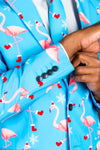 Blue flamingo pattern suit jacket