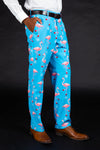 mens blue christmas flamingo print suit pants