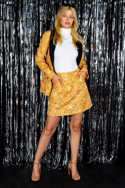 Gold glitter printed skirt suit