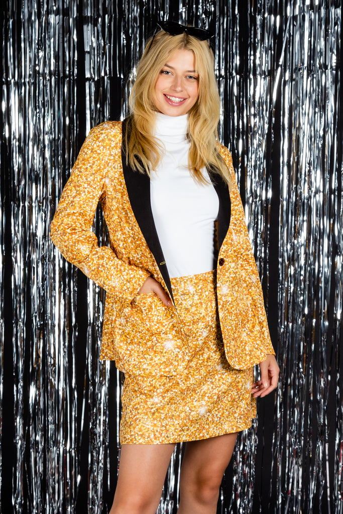 The Gold Dust | Womens Gold Glitter Print Suit Jacket