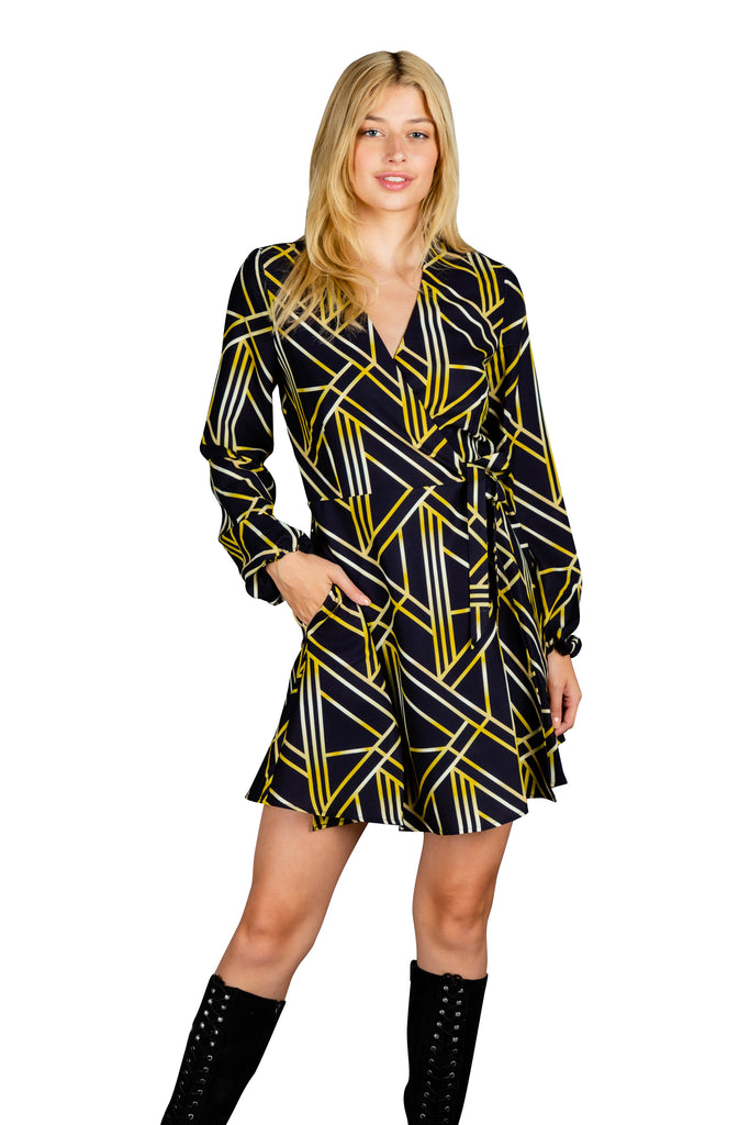The Ball Droppers | Art Deco Gold NYE Wrap Dress
