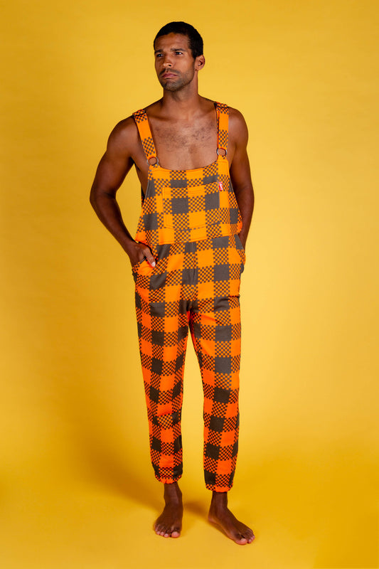 men's overalls orange checkered