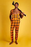 orange checkered overalls for men