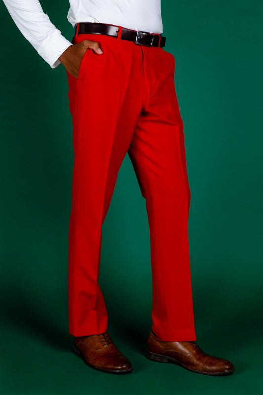 Solid Red Christmas Suit Pants for Men