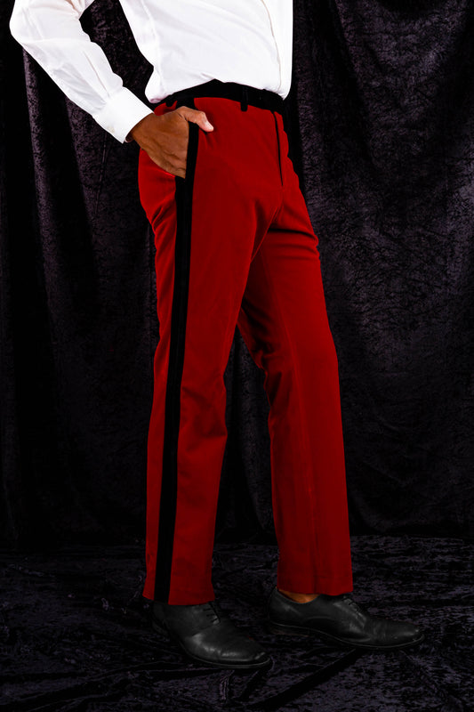 mens red velvet sexy christmas suit pants