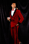 sexy red velvet smoking jacket for guys