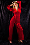 ladies red velvet christmas jumpsuit