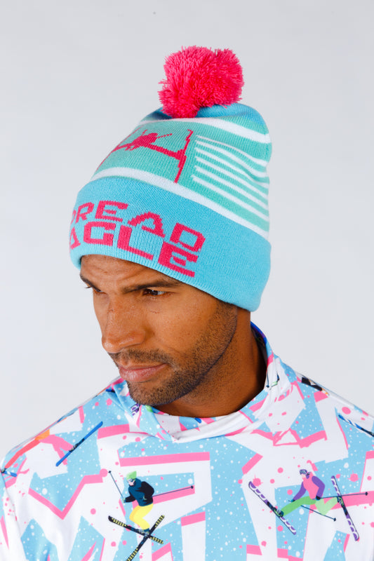 Neon pink and blue buff ball beanie