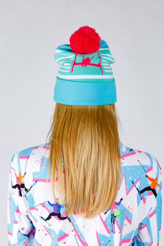 Skiing beanie for men and women neon print