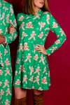 women's green christmas cookie dress