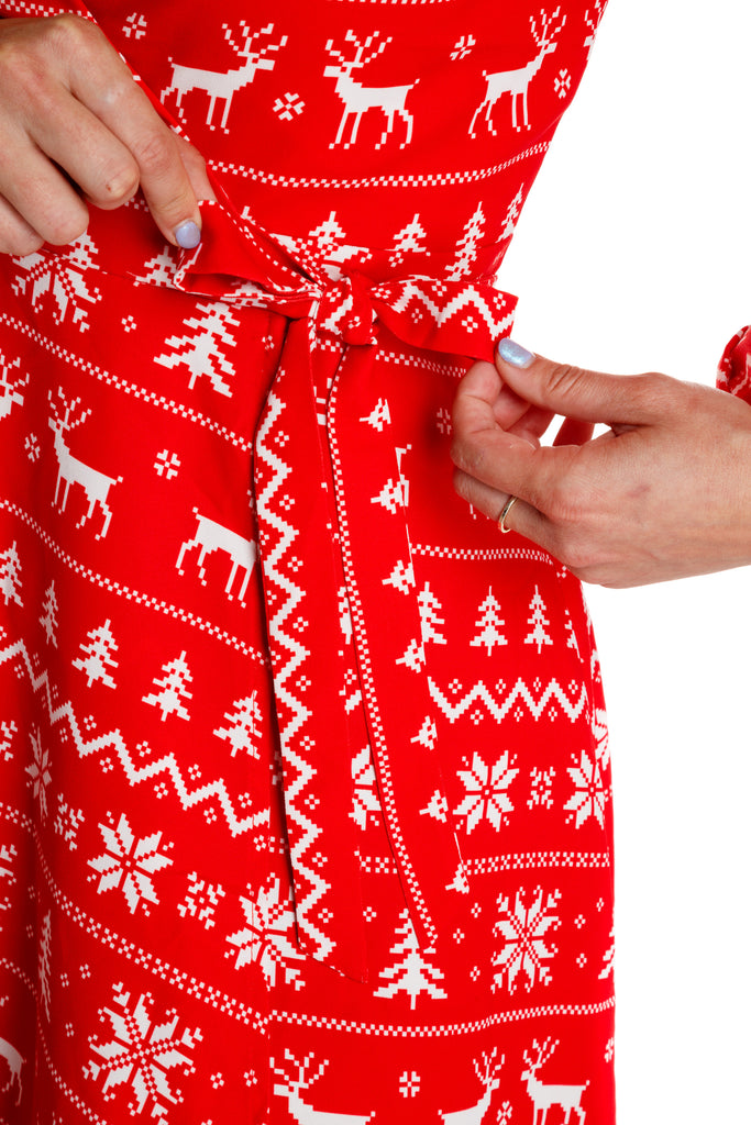 red christmas dress for women. red holiday party wrap dress. red fair isle  christmas dress cafc6af37