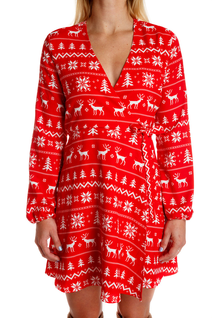 red holiday party wrap dress. red fair isle christmas dress d0e3c679d