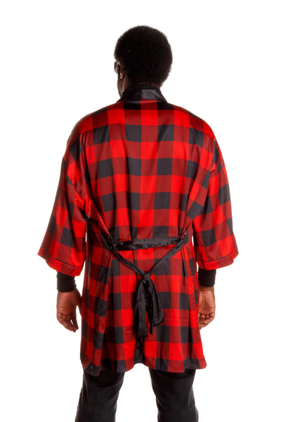 men's kimono with buffalo check print