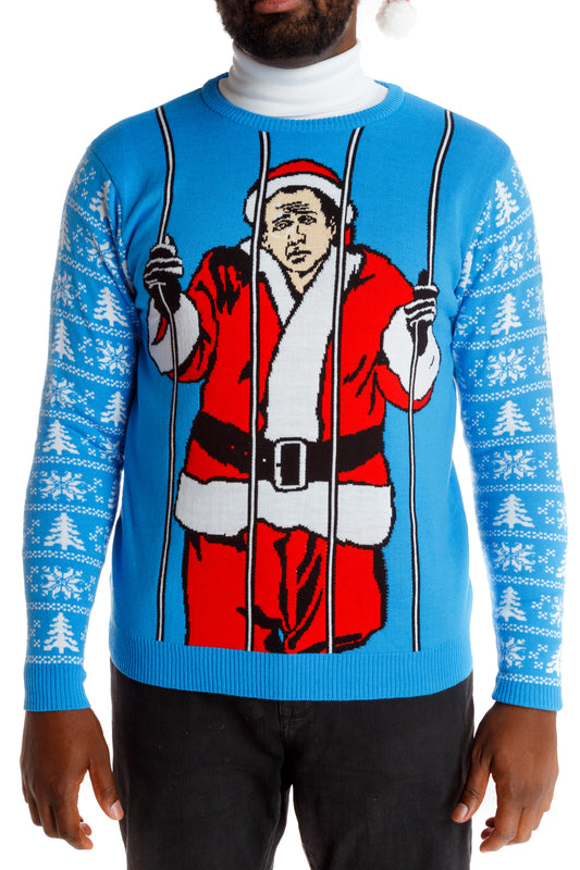 Men's St. Nicholas Cage Blue Christmas sweater