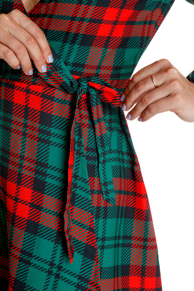 red and green plaid womens christmas dress