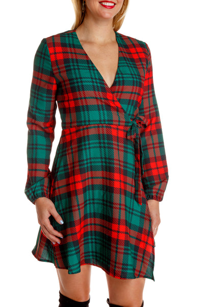 christmas plaid wrap around dress