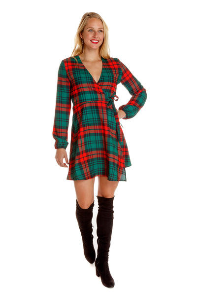 lincoln log christmas plaid dress for women