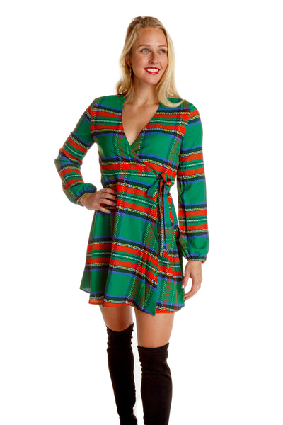 The Dirty Diana | Green Plaid Winter Wrap Dress