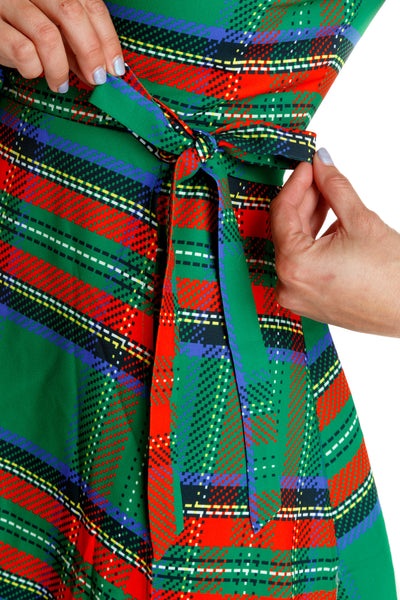red and green plaid holiday party dress