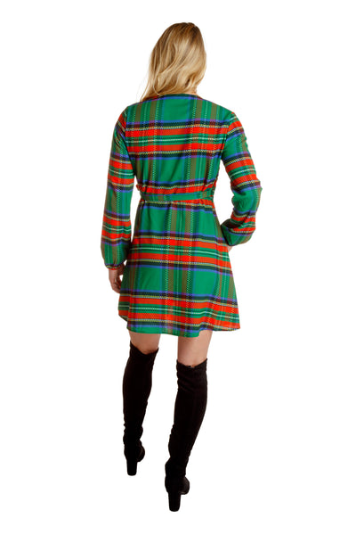 green and red plaid womens christmas dress