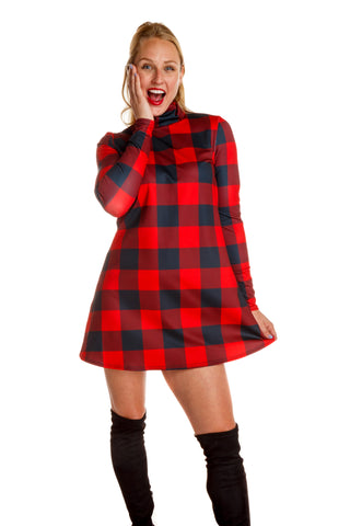The Red & Black Lumberjack | Buffalo Check Turtleneck Dress | Pre-Order | Delivery early November 2018