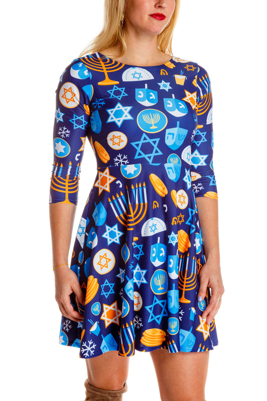 Hanukkah sweater dress for women