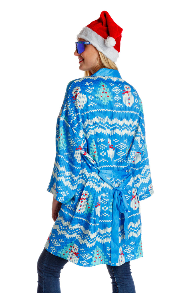 Just The Frosted Tips Ladies Pastel Snowmen Holiday Kimono