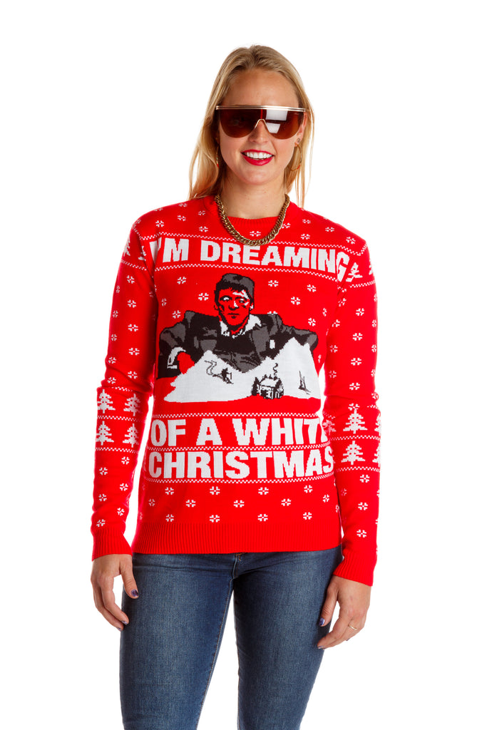 The Tony Mountaina | Ladies White Christmas Holiday Sweater