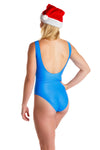 blue one piece swim suit with peppermints