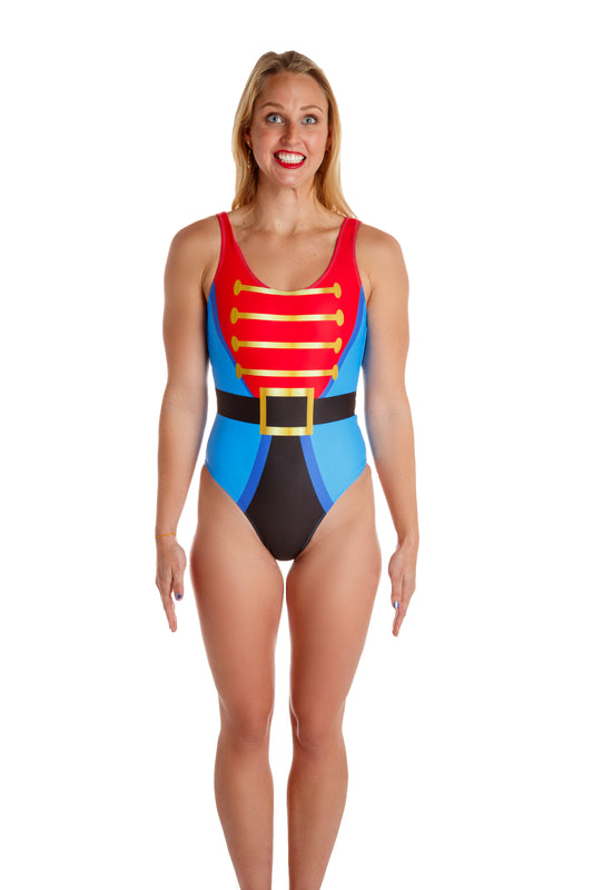 Christmas One Piece Swimsuit.The Wooden Soldier Nutcracker Holiday One Piece Swim Suit