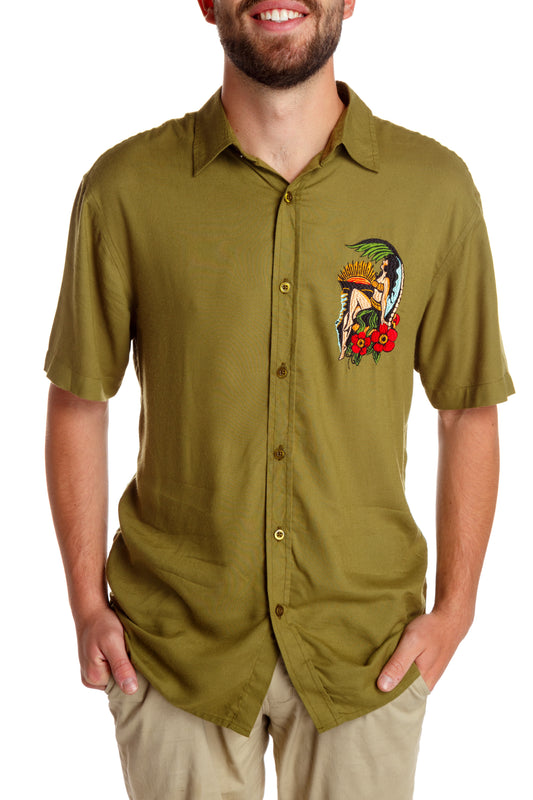 green hawaiian button up