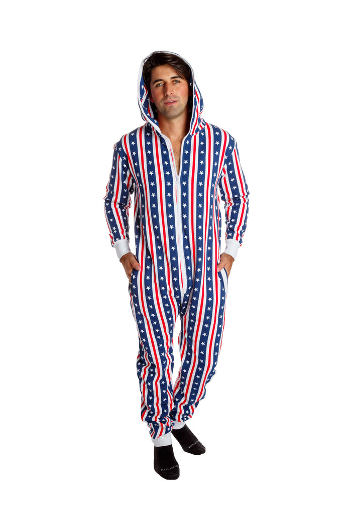 Clinton's Full Body Condom | American Flag Adult Onesie