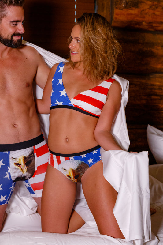 American flag cheeky undies for ladies