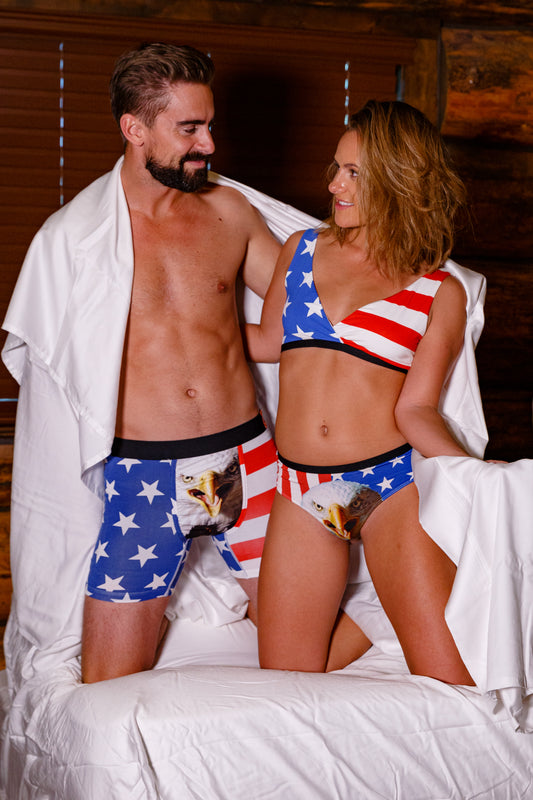 Red white and blue mascot underwear