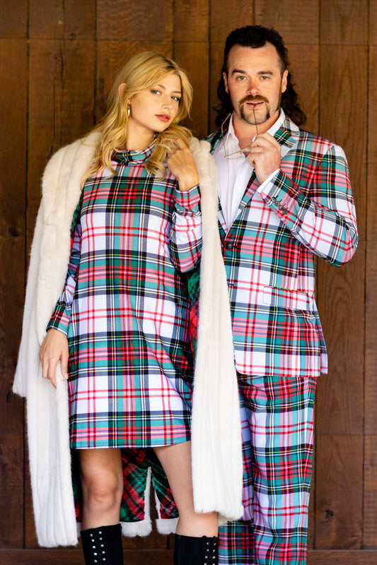 Green and White Plaid Christmas Matching Outfits