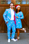 suave winter blue xmas flamingoes suit