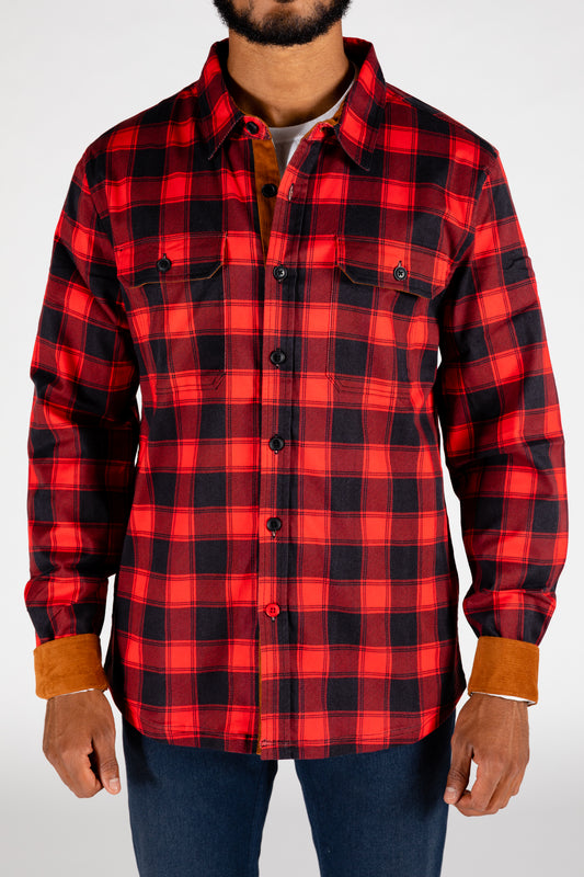 Red and black lumberjack pattern flannel