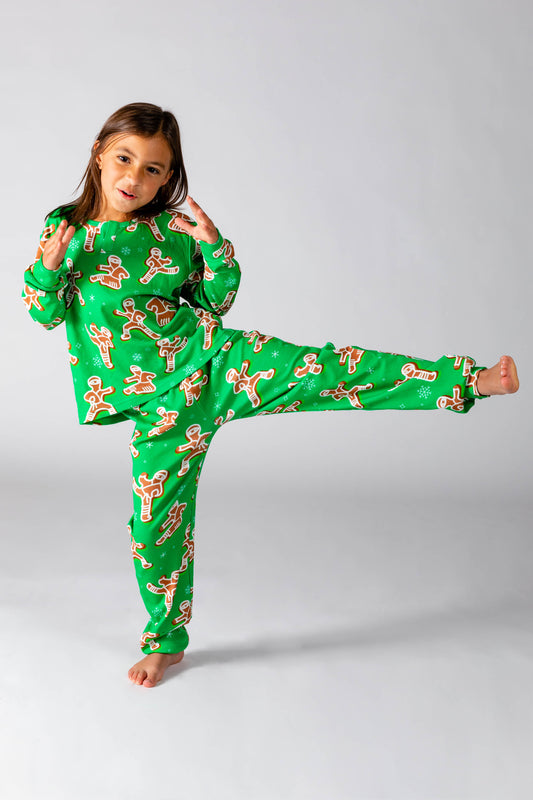 Green gingerbread kids holiday pjs
