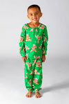 Green gingerbread men Christmas pajamas for kids