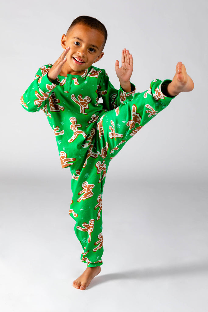 The Ninja Bread | Toddler Green Gingerbread Christmas Pajamas