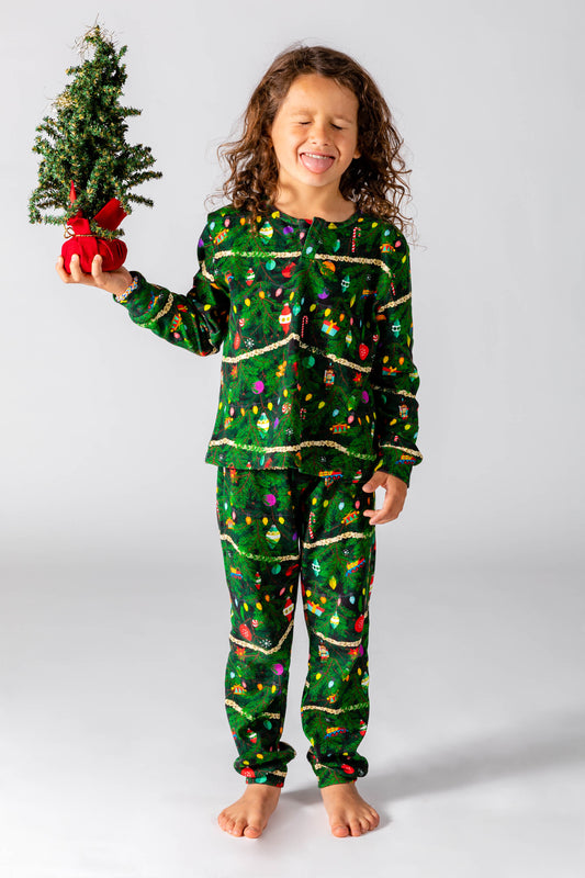 youth green festive holiday PJs
