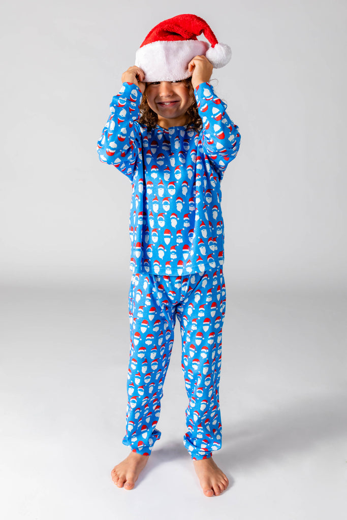 The 50 Shades of Santa | Big Kid Unisex Blue Christmas Pajamas
