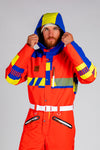 Men's retro red blue and yellow one piece ski suit