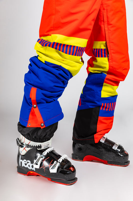 red yellow and blue ski suit for men