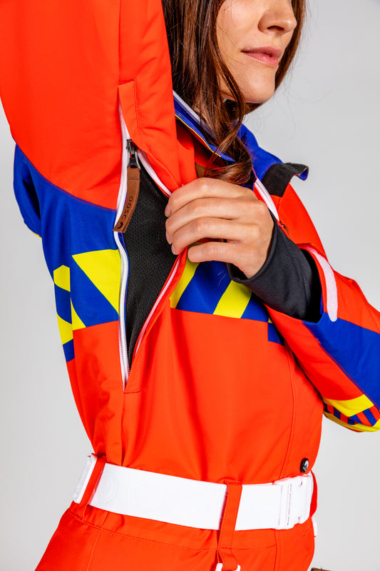 Unisex ski suit with vents
